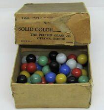 Vintage Peltier Glass Co. 56 Solid Color Marbles with Original Box