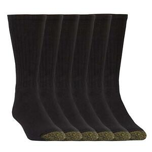 Gold Toe Men's Harrington Crew 6 Pack Extended, Black, Sock, Black, Size 10.0 VP