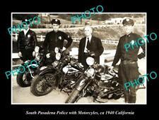 OLD HISTORIC PHOTO OF SOUTH PASADENA CALIFORNIA, POLICE MOTORCYCLE UNIT c1940