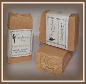 Handmade Soap PixieBubbles OATMEAL MILK & HONEY Coconut Oil & Greek Yogurt Shea