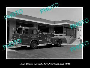 OLD 8x6 HISTORIC PHOTO OF NILES ILLINOIS THE FIRE DEPARTMENT TRUCK c1960