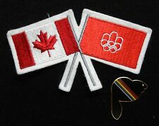 Pair of Montreal 1976 Olympic Mascot Amik The Beaver Pin & Canadian Flag Patch