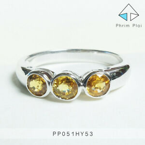 Thai Handmade 100% Natural Yellow Sapphire Gem with 925 Silver Ring PP051HY53