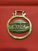 "Vintage Cast Horse Brass. ""Noah's Ark"" in a Serrated Surround"