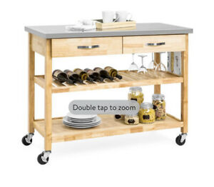 3-Tier Wood Rolling Kitchen Island Utility Serving Cart Stainless Steel Counter