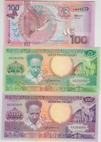 SEVEN SURINAME P132b TO P149 BIRDS AND FLOWERS BANKNOTES IN MINT CONDITION