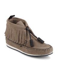 RAG & BONE Ghita Moccasin Grey Suede Leather Slip On Fringe Shoe Sneakers 11/41
