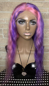 Lace Front 100% Real Human Hair Wig Body Wave Purple and Pink 22 inches