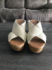 Kohl's Sonoma Memory Foam Womens Tan, Elastic Size 10 open toe Wedge dress shoe