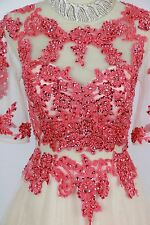 Aspeed $320 Coral Size L Long Gown Evening Dress Formal Prom Short Sleeve