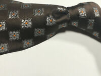 Canali Current 1934 Brown w Silver Medallion Pattern Italian 100% Silk Tie