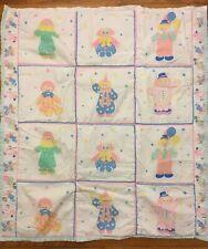 New listing Vintage Clown Baby/Toddler Bed Quilt Blanket Pastel Unisex Nursery