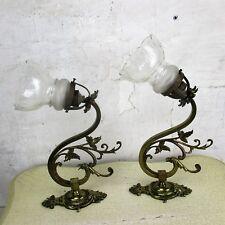 Couple Art Nouveau  Wall Sconces  Etched glass Sconces Brass Bird Eagle Chimera