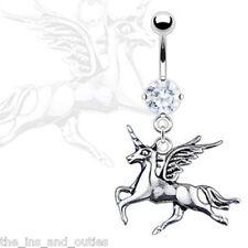Unicorn Dangle CZ Gem Belly Ring Pierced Navel Naval Fantasy WIngs Horse (w833)