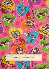 I Love Animals Heart Monkey Owl Elephant Giraffe Pink Marcus Cotton Fabric YARD