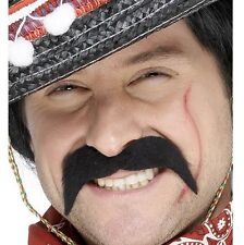 Mexican Bandit Fancy Dress Tash 70s Moustache Tache Black New by Smiffys