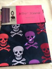 BETSEY JOHNSON FABRIC SHOWER CURTAIN MULTI COLOR SKULL & CROSSBONES NAVY NEW