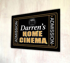 Personalise with your name Home Cinema Admission metal A4 sign plaque gift