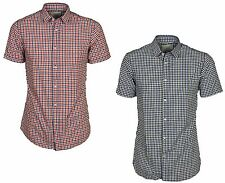 MENS JACK & JONES SLIM FIT CHECK SHIRT SHORT SLEEVE IN RED & BLUE CHECKED S - XL