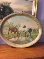 Beautiful Antique Metal Serving Tray Circa Late 1800's With Litho Horses Scare
