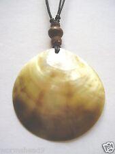 Shell disc pendant & wood bead adjustable black cord necklace - Fair Trade