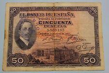 "50 PESETAS 1927 SPAIN SELLO. REPUBLICA ALFONSO XIII BANKNOTE PICK# 80 ""G"""