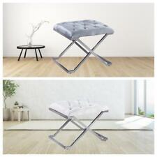Velvet Footstool Bench Dressing Table Stool Makeup Vanity Stool Chrome Legs