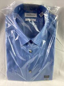 Calvin Klein Men's Mist Slim Herringbone Point Collar Shirt 15.5 32-33 Size M