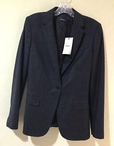 Theory Women Blazer Charcoal Gray Sz 2 Staple Sleek Flannel Virgin Wool Lined W6