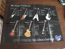GIBSON GUITAR POSTER - 18 X 24 - 1993 VINTAGE - FLYING V EXPLORER FIREBIRD LP