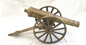 Vintage Solid Brass Cannon Figurine Decor -  Firecracker Touch Hole