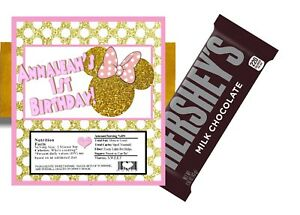 10 PINK AND GOLD GLITTER MINNIE MOUSE BIRTHDAY HERSHEY BAR WRAPPERS PARTY FAVORS