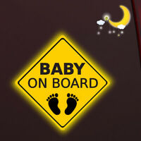 Baby on Board Footprint Yellow Warning Car Sticker Windows Tail Reflective Decal