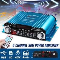 12V 80W Car Home Amplifier USB HIFI 4 Channel Powerful Bass FM Audio Stereo Amp