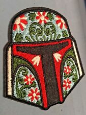 "Boba Fett Helmet Iron/Sew ON Patch Cloth Patch Sew Applique 3""x 2.75"" w/ Flowers"