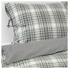 IKEA KING size Duvet Cover 3 pcs Set Green Plaid Reversible Cotton Tie closure