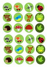 24 FOREST WOODLAND ANIMALS  CUPCAKE TOPPER WAFER RICE EDIBLE FAIRY CAKE  TOPPERS