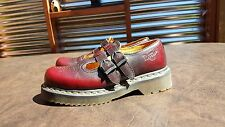 WOMENS DR MARTENS DOUBLE STRAP BURGUNDY MARY JANE LEATHER SHOES SZ 6 USED 1B62