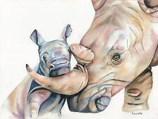 Original Rhino Watercolor Painting