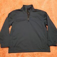 TIMBERLAND Sz XL Sweater Mens Navy Blue 3/4 Zip Pullover L/S Logo Thick Warm