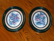 Homco Hummingbirds and Fuchsia Flower Pictures Set of 2 1983 Green Oval Frame