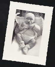 Antique Vintage Photograph Adorable Little Baby Playing With Toy in Carriage