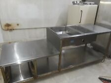 Large 8 foot Stainless Steel Donut glazing Table with well and warmer good cond