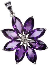 Amethyst Gemstone Flower Sterling Silver Pendant + Chain