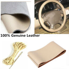 38cm/15'' Auto Steering Wheel Cover DIY Genuine Leather Anti-Slip Needle Thread