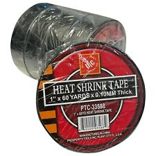 "Black Heat Shrink Tape 1"" x 180' (60 Yards) x .13 MM - Choose 1 Roll or 5 Sleeve"