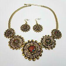2tlg Schmuckset Ohrringe Halskette Collier Halsschmuck Vintage Bollywood Strass