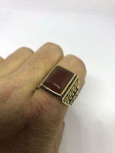1980's Vintage Golden Stainless Steel Size 9 Men's Genuine Carnelian Ring