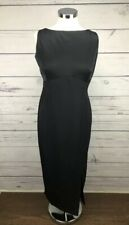 Adrianna Papell Evening Black Maxi Gown Dress Sleeveless Leg Slits Size 12 L