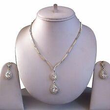 Plata Clara Bisutería Collar Aretes Cristal Diamante Set Nupcial Nuevo